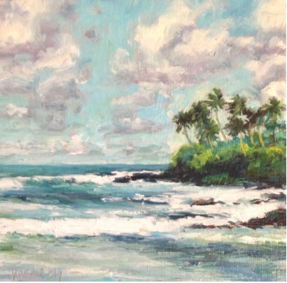 "Original Canvas Oil Painting ""Paia Bay Palm Trees"" by Vosberg Maui Hawaii"